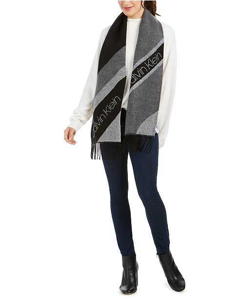 Calvin Klein Tri-Color Spliced Woven Scarf