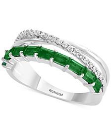 EFFY® Emerald (5/8 ct. t.w.) & Diamond (1/6 ct. t.w.) Ring in 14k White Gold