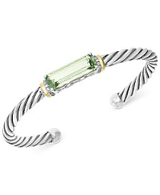 EFFY® Green Quartz (6-1/3 ct. t.w.) & Diamond (1/8 ct. t.w.) Bangle Bracelet in Sterling Silver and 18k Gold Over Sterling Silver