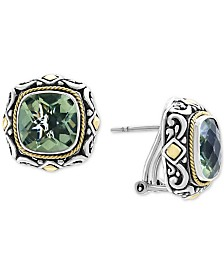 EFFY® Green Quartz (6-3/4 ct. t.w.) Stud Earrings in Sterling Silver & 18k Gold Over Sterling Silver