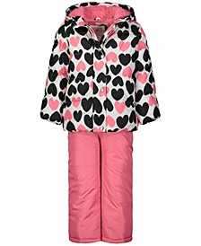 Little Girls 2-Pc. Heart-Print Jacket & Bib Snow Suit
