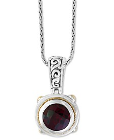 "EFFY® Garnet (3-5/8) 18"" Pendant Necklace in Sterling Silver and 18k Gold Over Sterling Silver"