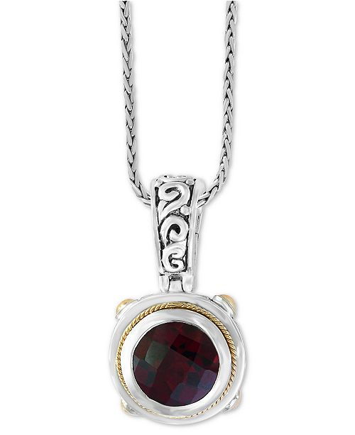 """EFFY Collection EFFY® Garnet (3-5/8) 18"""" Pendant Necklace in Sterling Silver and 18k Gold Over Sterling Silver"""