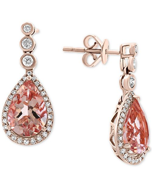EFFY Collection EFFY® Morganite (4-3/8 ct. t.w.) & Diamond (1/3 ct. t.w.) Drop Earrings in 14k Rose Gold
