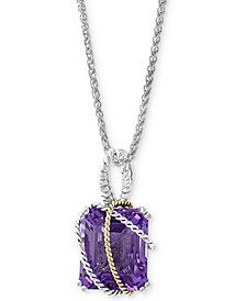 "EFFY® Amethyst 18"" Pendant Necklace (5-1/2 ct. t.w.) in Sterling Silver & 18k Gold"
