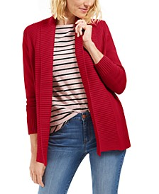 Petite Shawl-Collar Mixed-Stitch Sweater, Created for Macy's