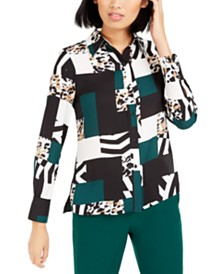 Bar III Printed Button-Up Blouse, Created For Macy's