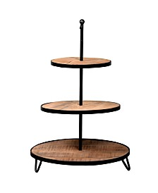Villa 2 Roma Pastry 3 Tier Stand with Handle in Weathered Vintage-Inspired