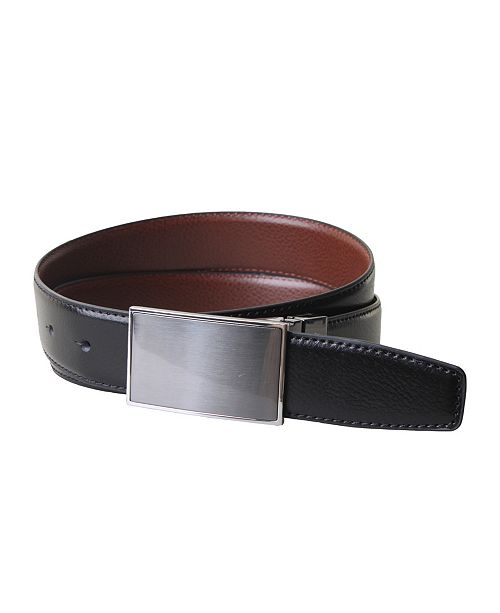 Members Only Split Leather Reversible Plaque Belt