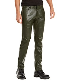 INC Men's Slim-Fit Faux Leather Pants, Created for Macy's