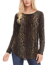 Burnout-Print Scoop-Neck Top