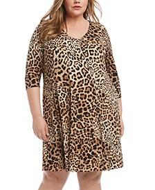 Plus Size Leopard-Print Shift Dress
