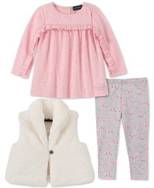 Calvin Klein Baby Girls 3-Pc. Faux-Fur Vest, Ruffled Top & Floral-Print Leggings Set