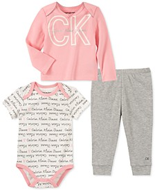 Baby Girls 3-Pc. T-Shirt, Bodysuit & Pants Set