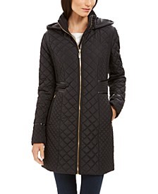 Hooded Faux-Leather-Trim Quilted Coat