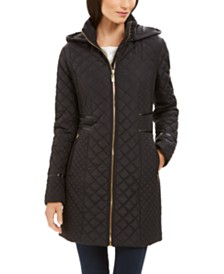 Via Spiga Hooded Faux-Leather-Trim Quilted Coat