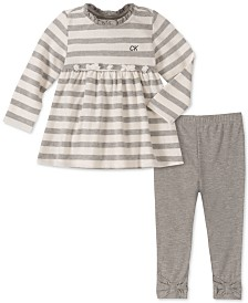 Calvin Klein Baby Girls 2-Pc. Striped Tunic & Leggings Set