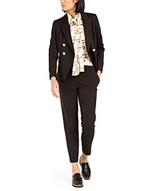 Double-Breasted Jacket, Printed Blouse & Straight-Leg Pants, Created For Macy's