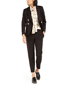 Bar III Double-Breasted Jacket, Printed Blouse & Straight-Leg Pants, Created For Macy's