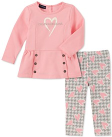 Calvin Klein Baby Girls 2-Pc. Heart Tunic & Houndstooth Leggings Set