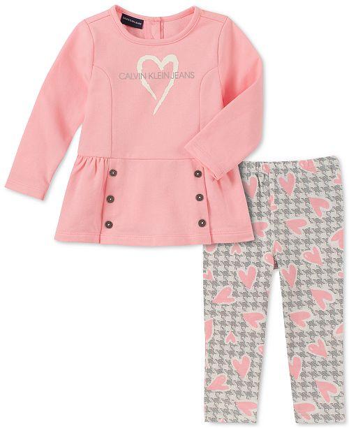 Calvin Klein Baby Girls 2-Pc. Heart Tunic & Houndstooth Leggings Set
