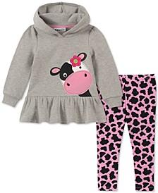 Baby Girls 2-Pc. Cow Hoodie & Printed Leggings Set