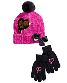 Little & Big Girls 2-Pc. JoJo Siwa Brushed-Sequin Hat & Gloves Set