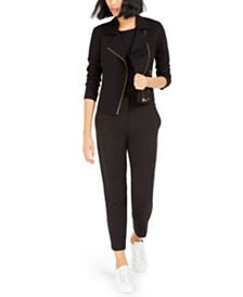 Bar III Moto Jacket, Textured Top, & Straight-Leg Pants, Created For Macy's