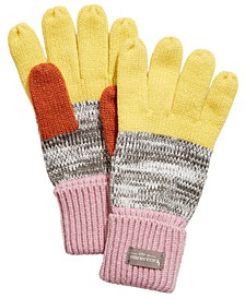 Knit Color-Block Marled Gloves