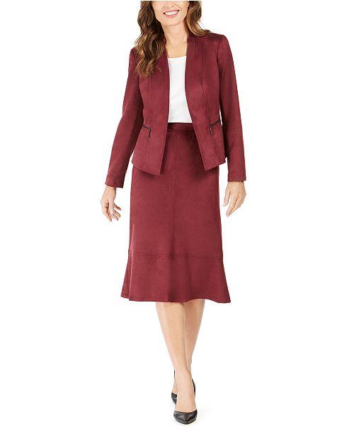 Kasper Faux-Suede Jacket & A-Line Skirt