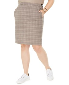 Bar III Plus Size Plaid Pencil Skirt, Created For Macy's