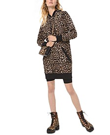 Cotton Cheetah-Print Hooded Sweater Dress