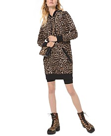 Michael Michael Kors Cotton Cheetah-Print Hooded Sweater Dress