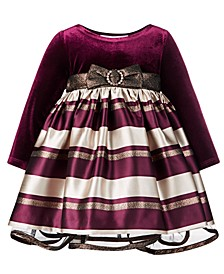 Baby Girls Velvet Jacquard Striped Dress