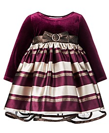 Bonnie Baby Baby Girls Velvet Jacquard Striped Dress