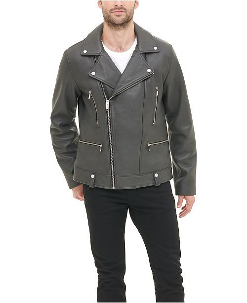DKNY Men's Asymmetric Motorcycle Leather Jacket, Created for Macy's