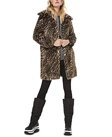 Tiger Stripe Faux-Fur Coat