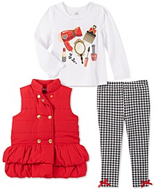 Little Girls 3-Pc. Ruffled Vest, Graphic Top & Printed Leggings Set