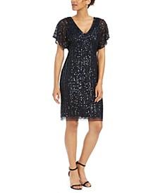 Embellished Flutter-Sleeve Sheath Dress