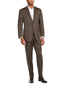 by Andrew Marc Men's Brown Birdseye Modern-Fit Suit