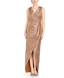 Draped Sequined Gown