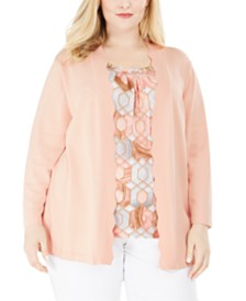 Alfred Dunner Alfred Dunner Plus Size Boardroom Layered-Look Cardigan Top