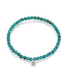 Satya Jewelry Turquoise Silver Mini OM Stretch Bracelet