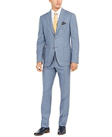 Orange Men's Slim-Fit Stretch Blue Sharkskin Suit