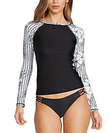 Juniors' So Tropical Printed Long-Sleeve Rash Guard & Simply Solid Strappy-Side Bikini Bottoms