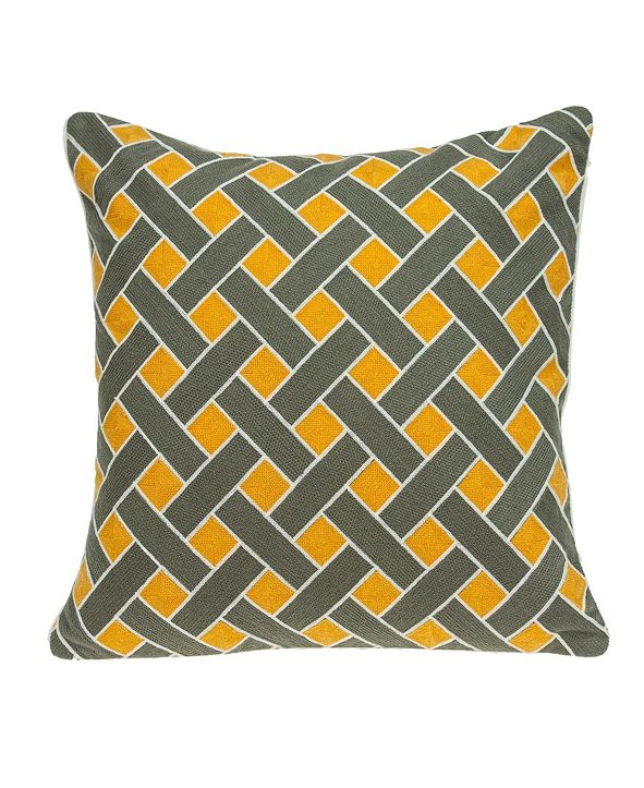 Parkland Collection Kain Transitional Grey and Orange Pillow Cover With Down Insert