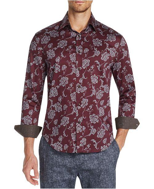Tallia Men's Slim-Fit Stretch Burgundy Floral Long Sleeve Shirt