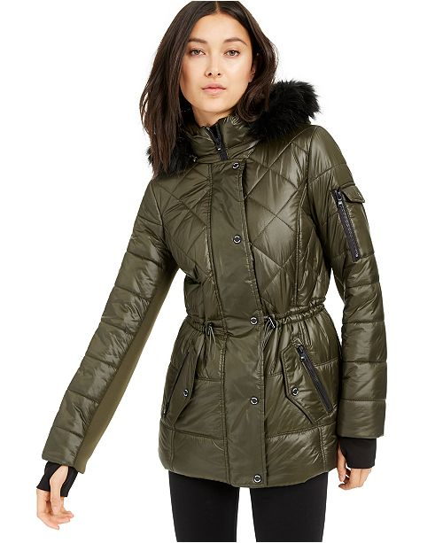 Michael Kors Active Faux-Fur Trim Hooded Anorak Puffer Coat