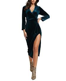 Velvet Slit Wrap Dress