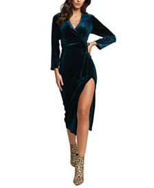 Bardot Velvet Slit Wrap Dress